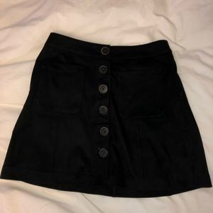 Zara Button-Front Suede Skirt